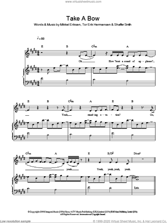 Take A Bow sheet music for voice, piano or guitar by Tor Erik Hermansen, Rihanna, Mikkel Eriksen and Shaffer Smith. Score Image Preview.