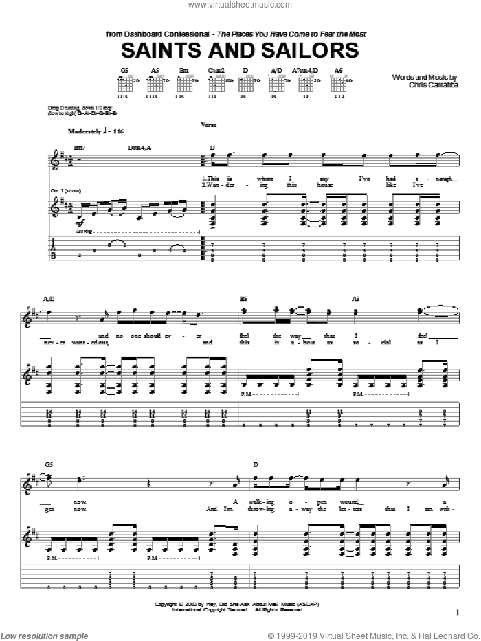 Saints And Sailors sheet music for guitar (tablature) by Chris Carrabba and Dashboard Confessional. Score Image Preview.