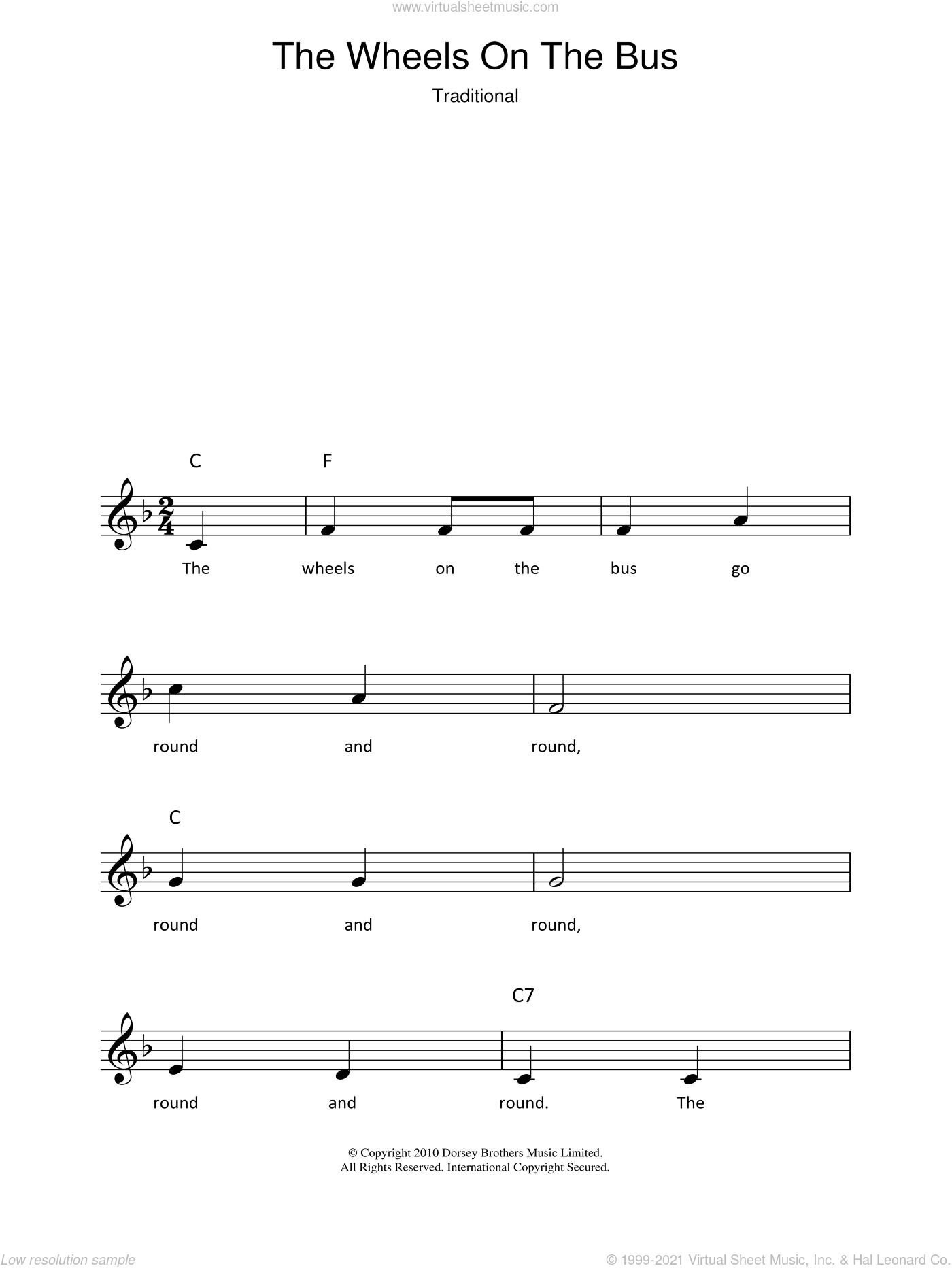 The Wheels On The Bus sheet music for voice and other instruments (fake book). Score Image Preview.