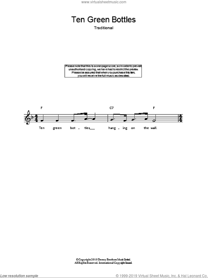 Ten Green Bottles sheet music for voice and other instruments (fake book), intermediate. Score Image Preview.