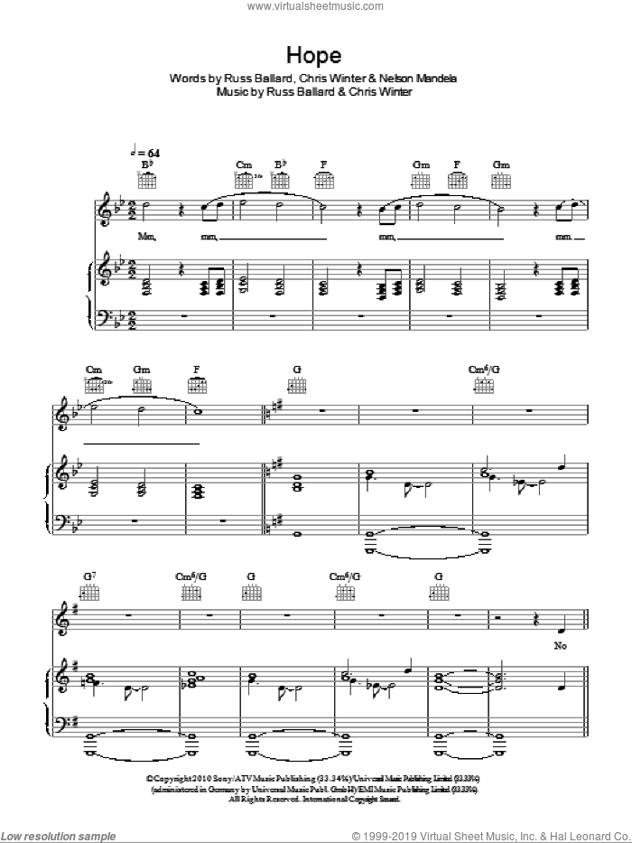 Hope sheet music for voice, piano or guitar by Russ Ballard. Score Image Preview.