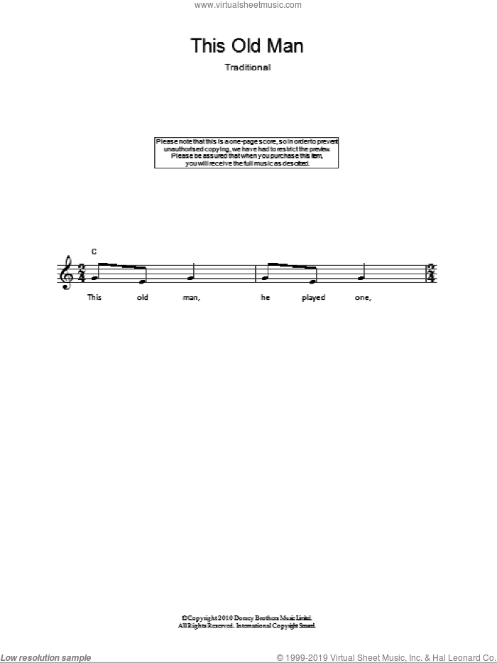 This Old Man sheet music for voice and other instruments (fake book), intermediate skill level