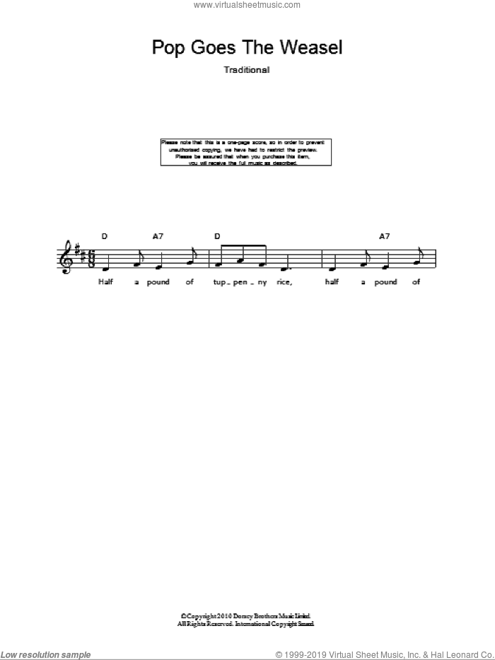 Pop Goes The Weasel sheet music for voice and other instruments (fake book), intermediate skill level