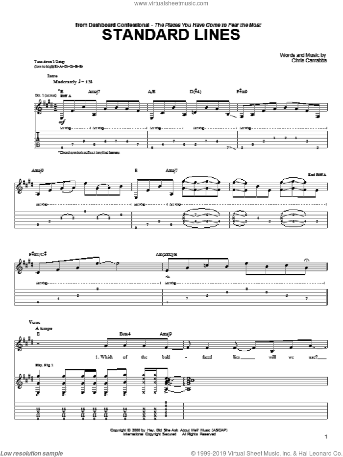 Standard Lines sheet music for guitar (tablature) by Chris Carrabba and Dashboard Confessional. Score Image Preview.