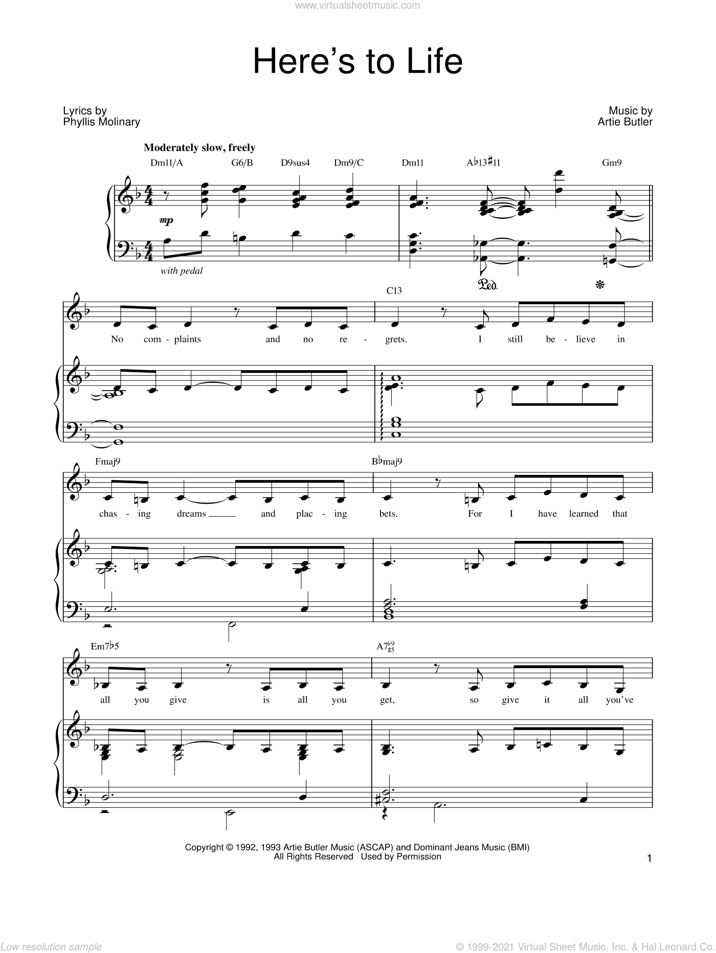 Here's To Life sheet music for voice, piano or guitar by Barbra Streisand, Shirley Horn, Artie Butler and Phyllis Molinary, intermediate skill level