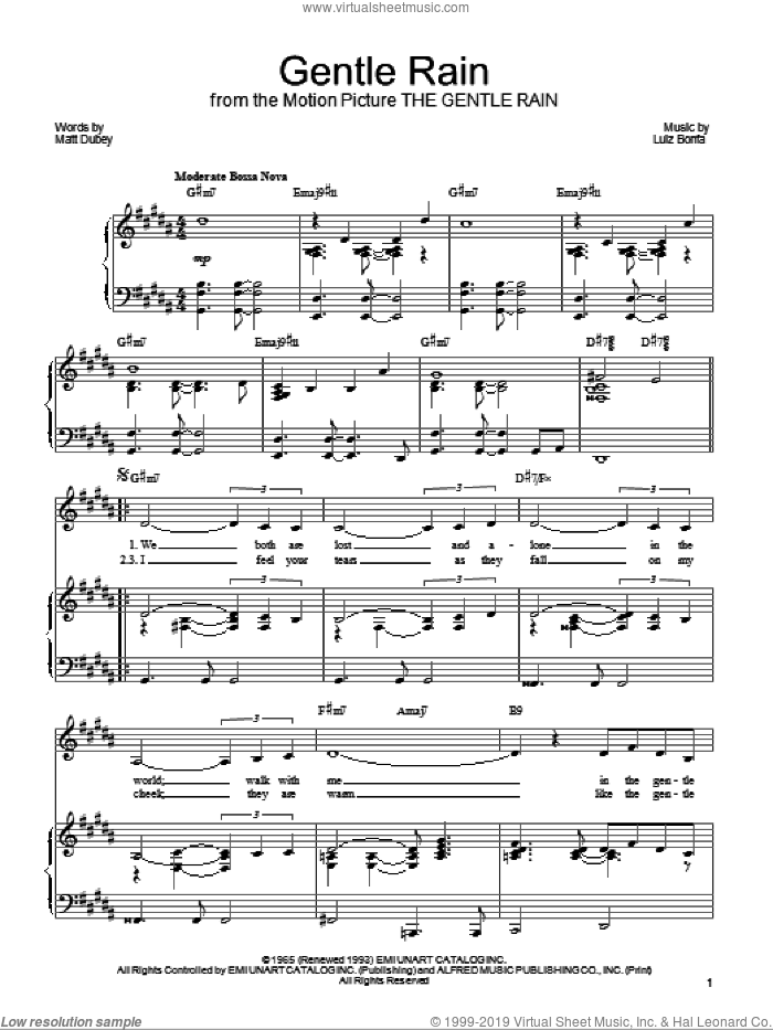 Gentle Rain sheet music for voice, piano or guitar by Barbra Streisand, Luiz Bonfa and Matt Dubey, intermediate. Score Image Preview.