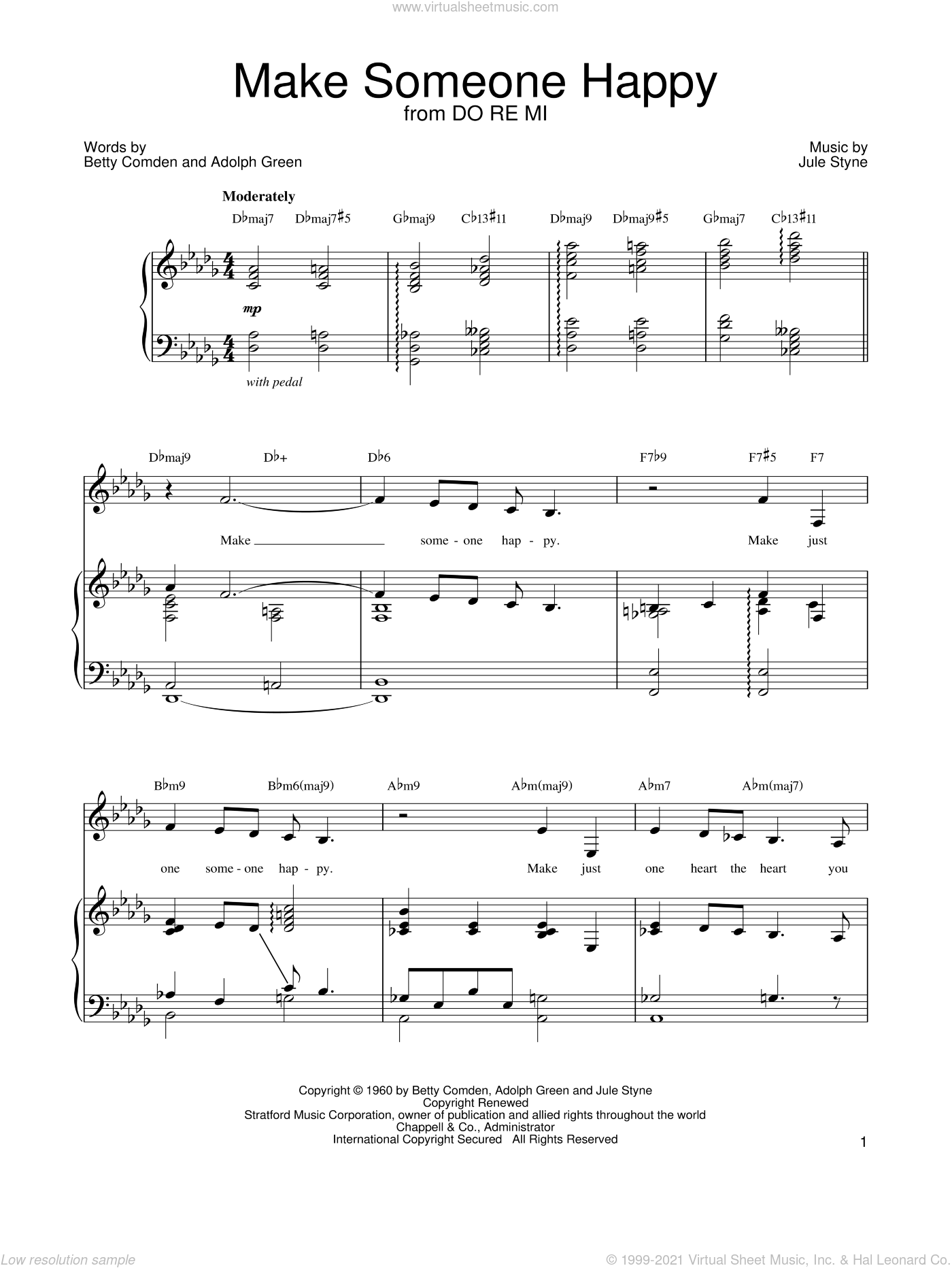 Make Someone Happy sheet music for voice, piano or guitar by Betty Comden, Barbra Streisand, Adolph Green and Jule Styne. Score Image Preview.