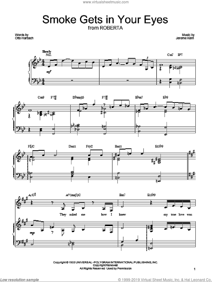 Smoke Gets In Your Eyes sheet music for voice, piano or guitar by Barbra Streisand, The Platters, Jerome Kern and Otto Harbach, intermediate voice, piano or guitar. Score Image Preview.
