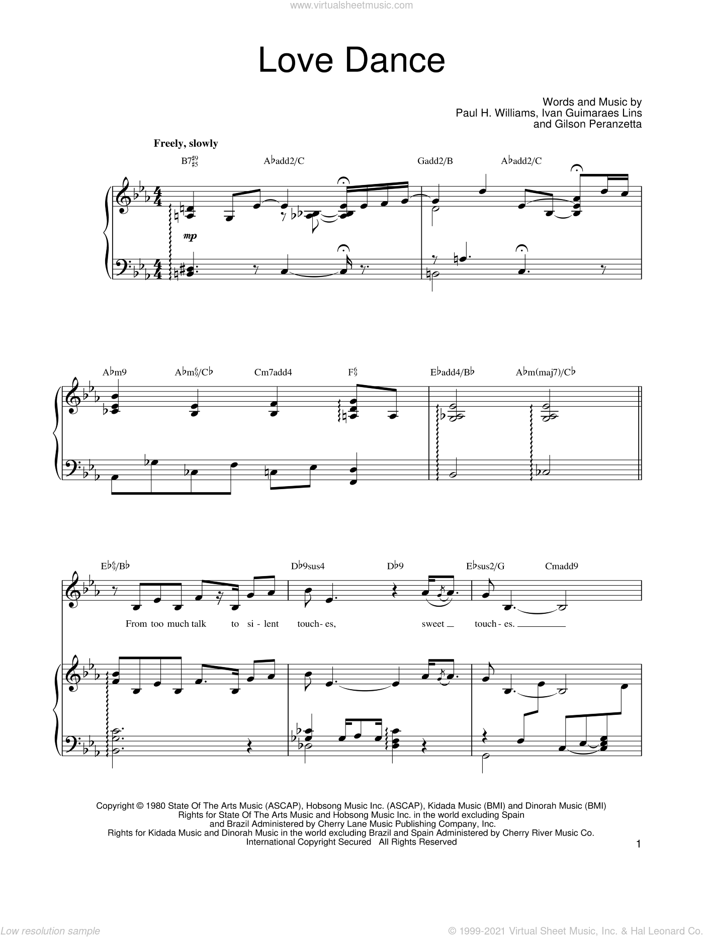 Love Dance sheet music for voice, piano or guitar by Barbra Streisand and Paul Williams, intermediate. Score Image Preview.