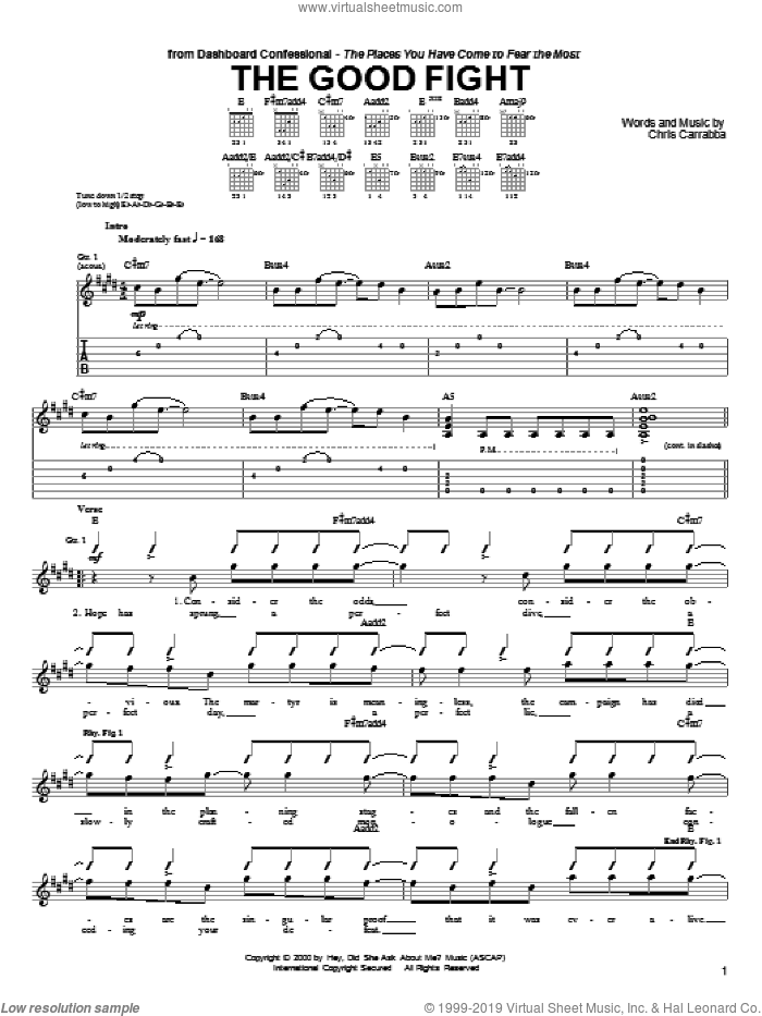 The Good Fight sheet music for guitar (tablature) by Chris Carrabba