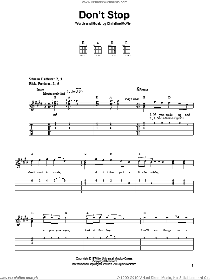 Don't Stop sheet music for guitar solo (easy tablature) by Christine McVie