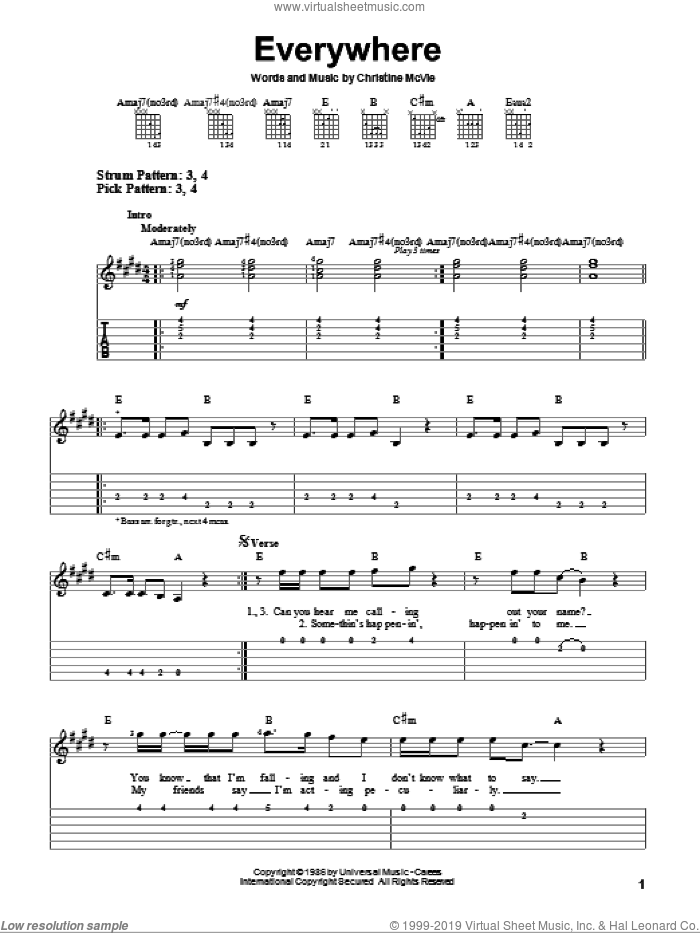 Everywhere sheet music for guitar solo (easy tablature) by Christine McVie and Fleetwood Mac. Score Image Preview.