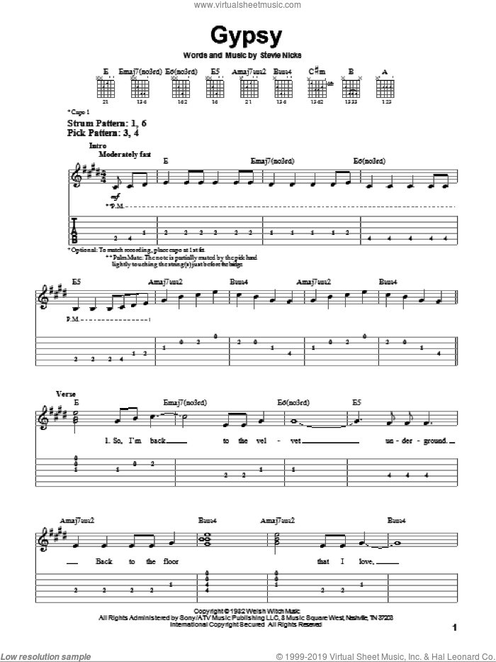 Gypsy sheet music for guitar solo (easy tablature) by Fleetwood Mac and Stevie Nicks, easy guitar (easy tablature)