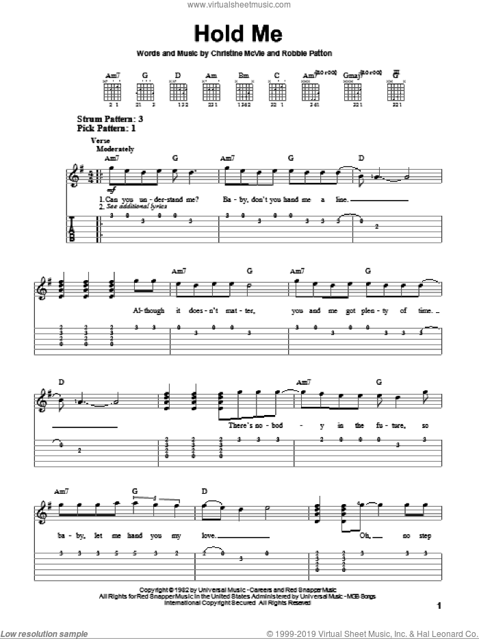 Hold Me sheet music for guitar solo (easy tablature) by Fleetwood Mac, Christine McVie and Robbie Patton, easy guitar (easy tablature)