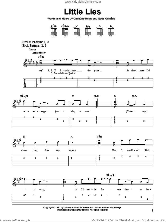 Little Lies sheet music for guitar solo (easy tablature) by Fleetwood Mac, Christine McVie and Eddy Quintela, easy guitar (easy tablature)