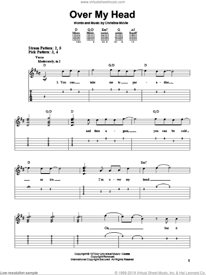 Over My Head sheet music for guitar solo (easy tablature) by Fleetwood Mac and Christine McVie, easy guitar (easy tablature). Score Image Preview.