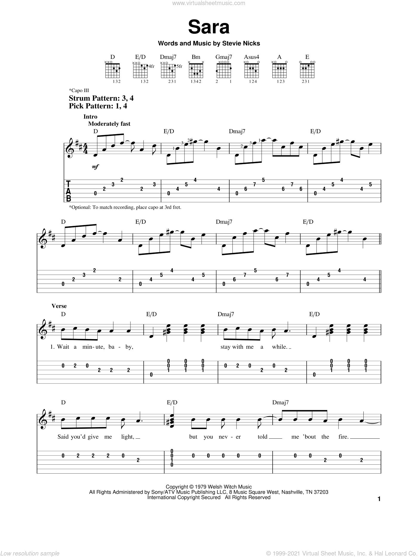 Sara sheet music for guitar solo (easy tablature) by Fleetwood Mac and Stevie Nicks, easy guitar (easy tablature)
