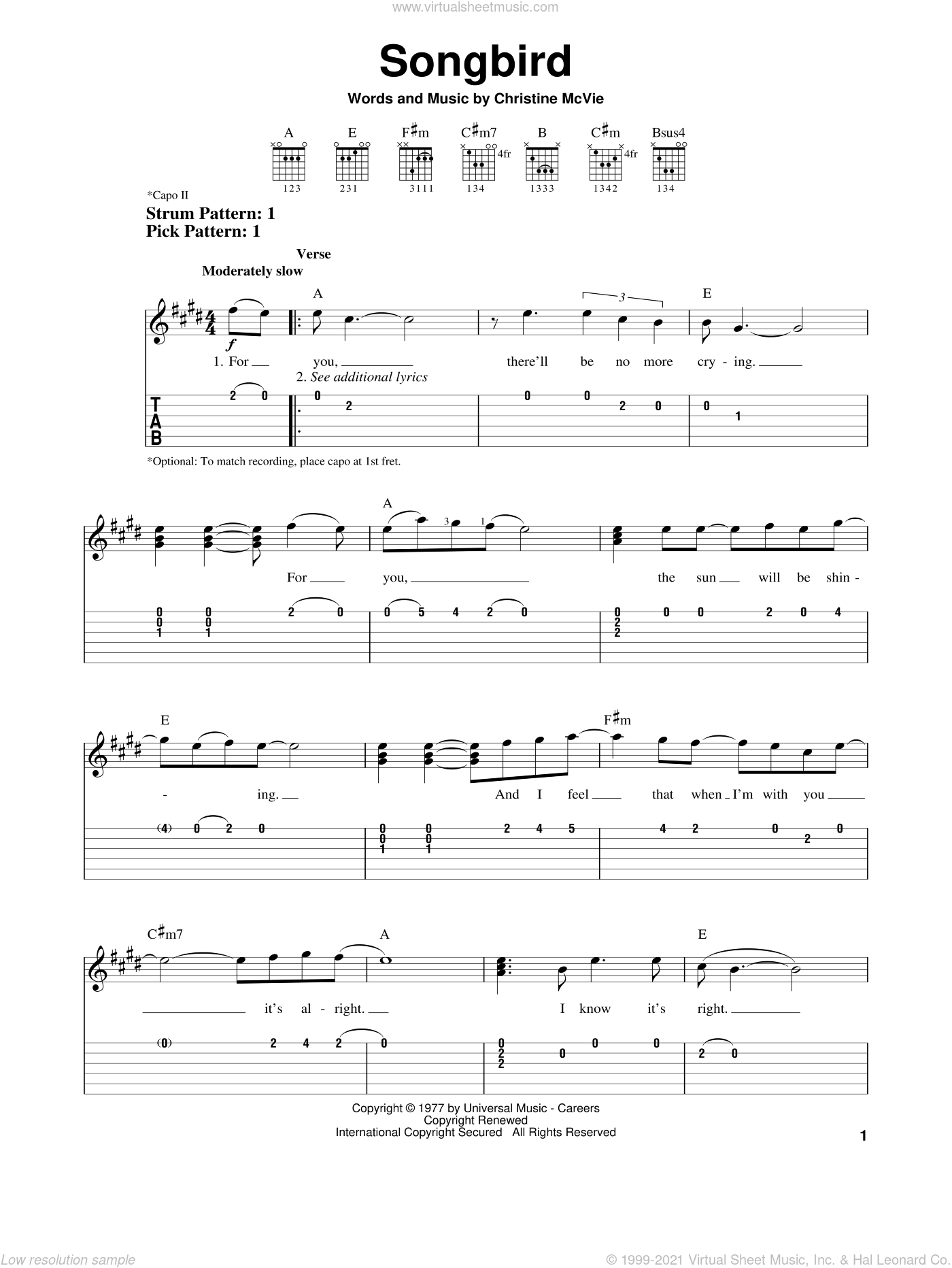 Songbird sheet music for guitar solo (easy tablature) by Christine McVie