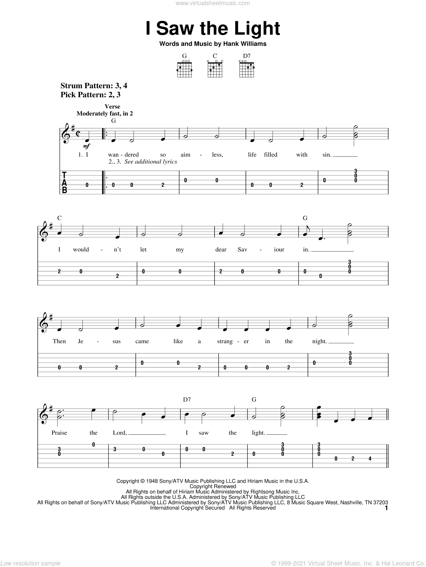 I Saw The Light sheet music for guitar solo (easy tablature) by Hank Williams