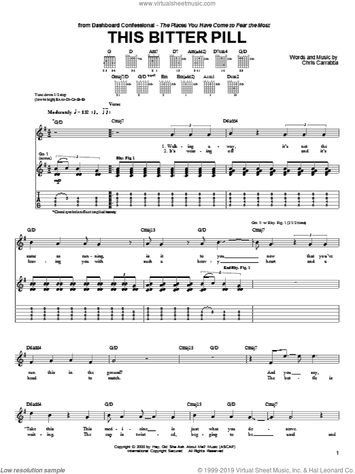 This Bitter Pill sheet music for guitar (tablature) by Chris Carrabba and Dashboard Confessional. Score Image Preview.