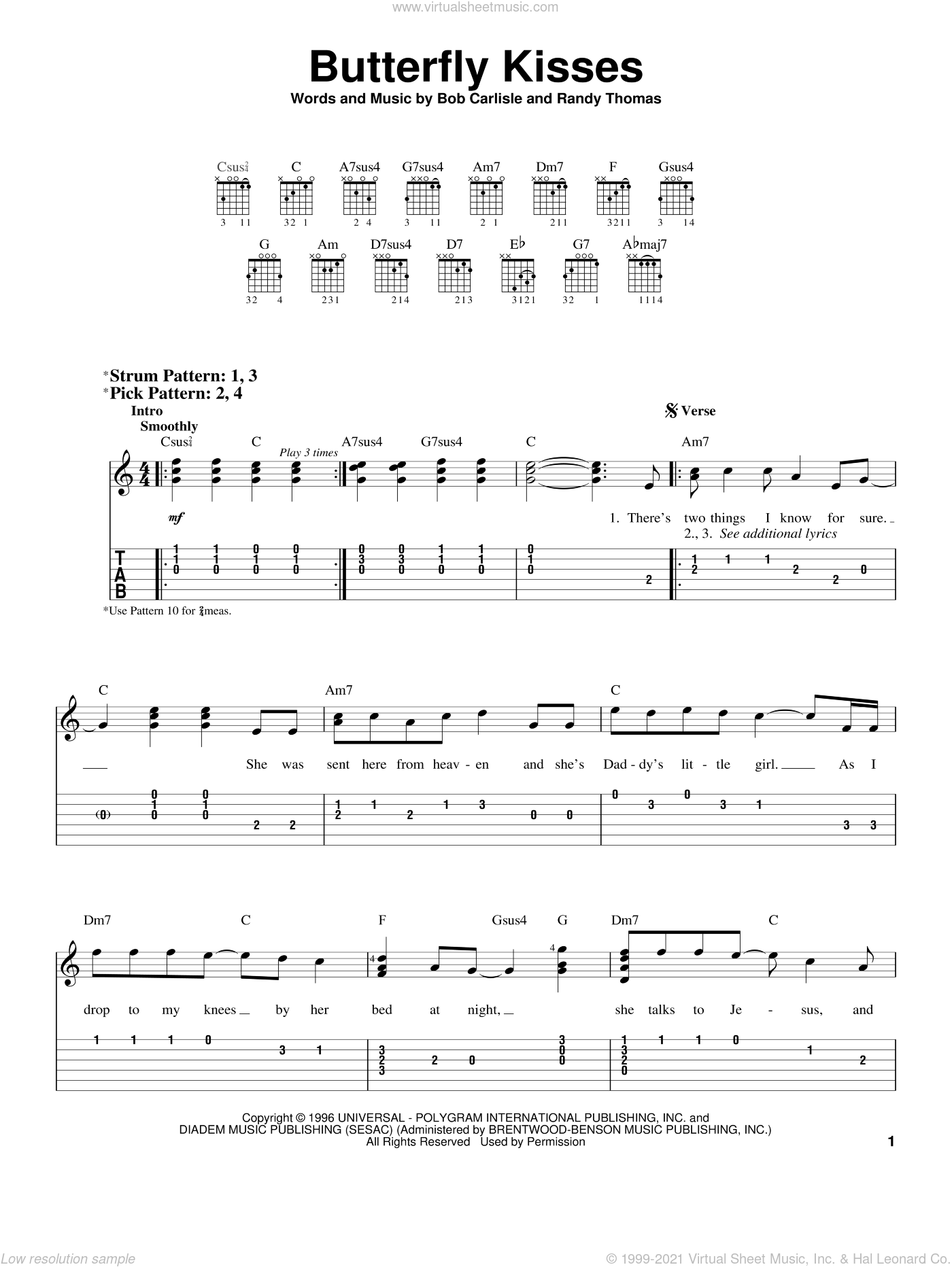 Butterfly Kisses sheet music for guitar solo (easy tablature) by Bob Carlisle, wedding score, easy guitar (easy tablature). Score Image Preview.