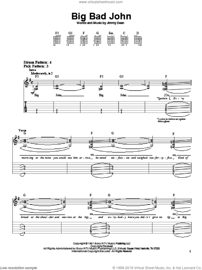 Big Bad John sheet music for guitar solo (easy tablature) by Jimmy Dean, easy guitar (easy tablature)