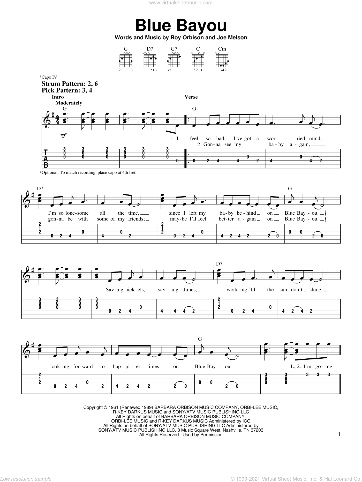 Blue Bayou sheet music for guitar solo (easy tablature) by Joe Melson, Linda Ronstadt and Roy Orbison. Score Image Preview.