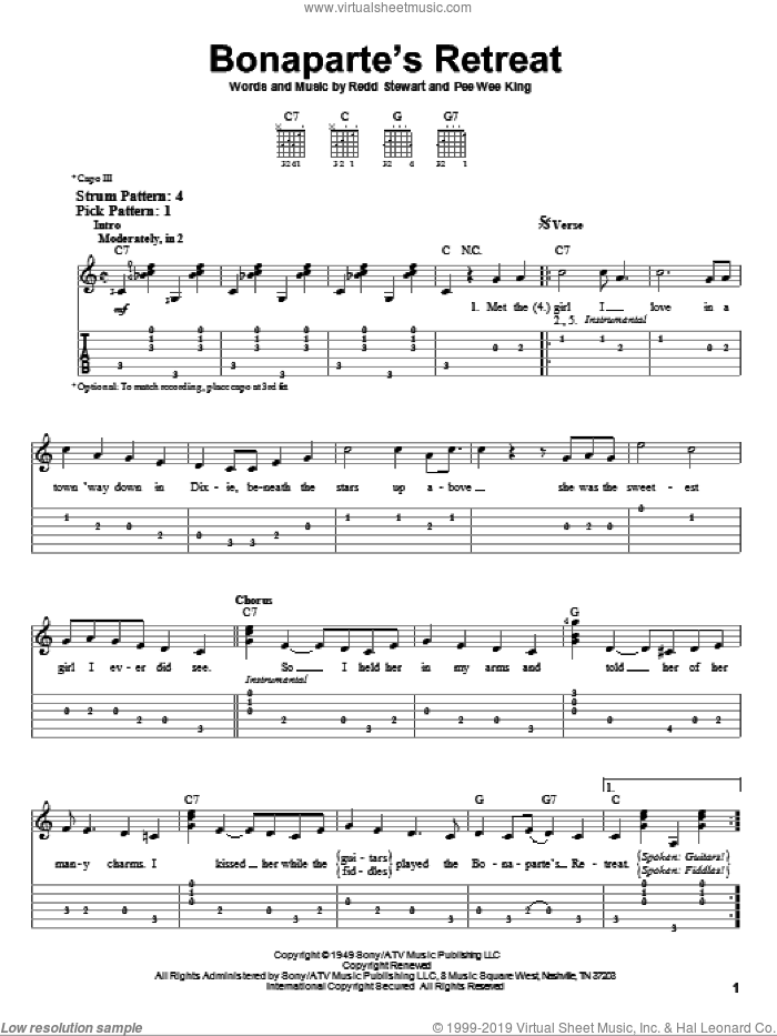 Bonaparte's Retreat sheet music for guitar solo (easy tablature) by Glen Campbell and Pee Wee King. Score Image Preview.