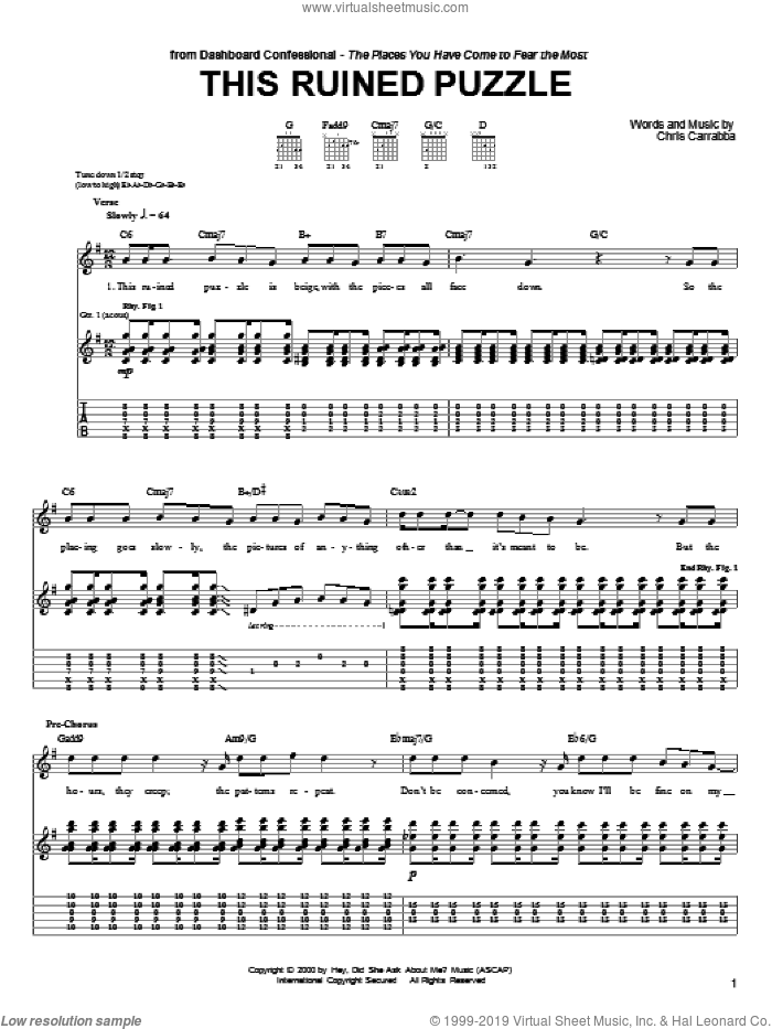 This Ruined Puzzle sheet music for guitar (tablature) by Chris Carrabba and Dashboard Confessional. Score Image Preview.