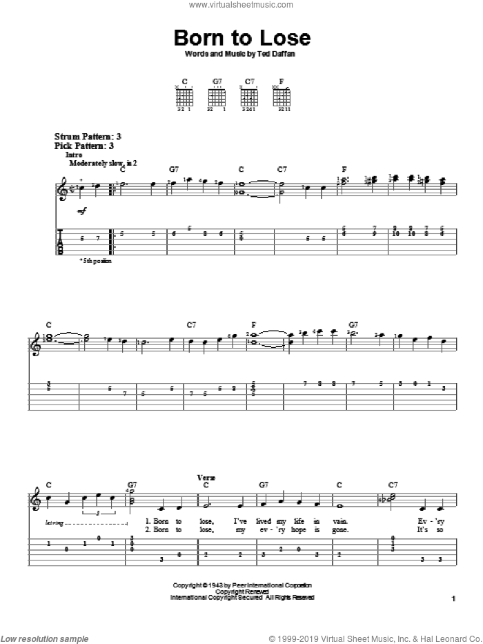 Born To Lose sheet music for guitar solo (easy tablature) by Ted Daffan and Ray Charles. Score Image Preview.