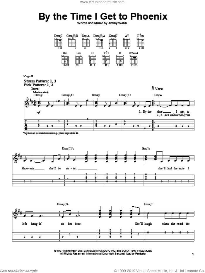 By The Time I Get To Phoenix sheet music for guitar solo (easy tablature) by Glen Campbell and Jimmy Webb