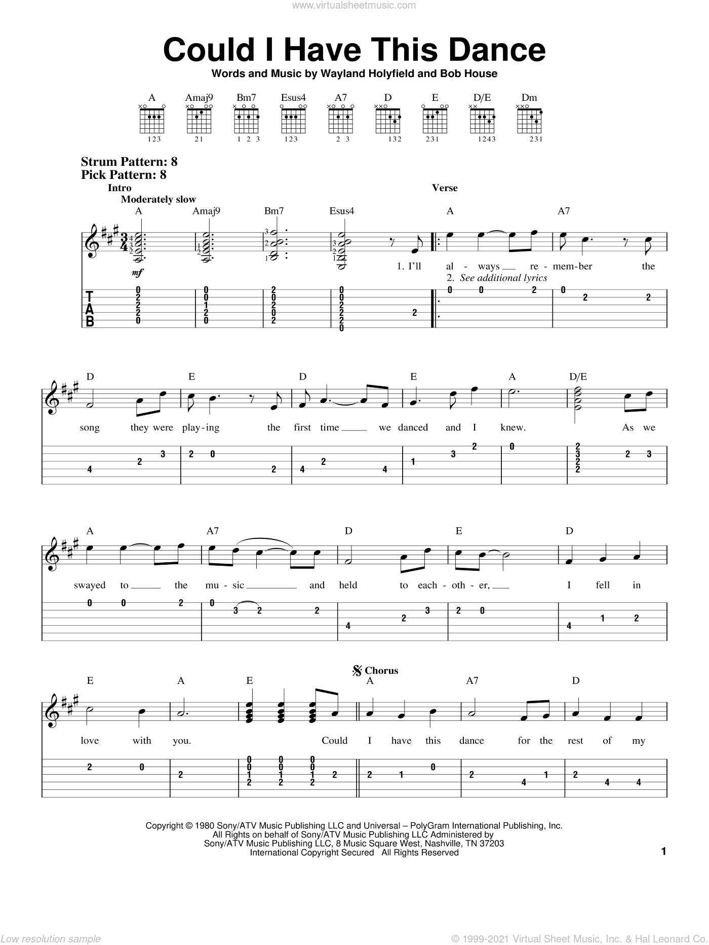 Could I Have This Dance sheet music for guitar solo (easy tablature) by Wayland Holyfield and Anne Murray. Score Image Preview.