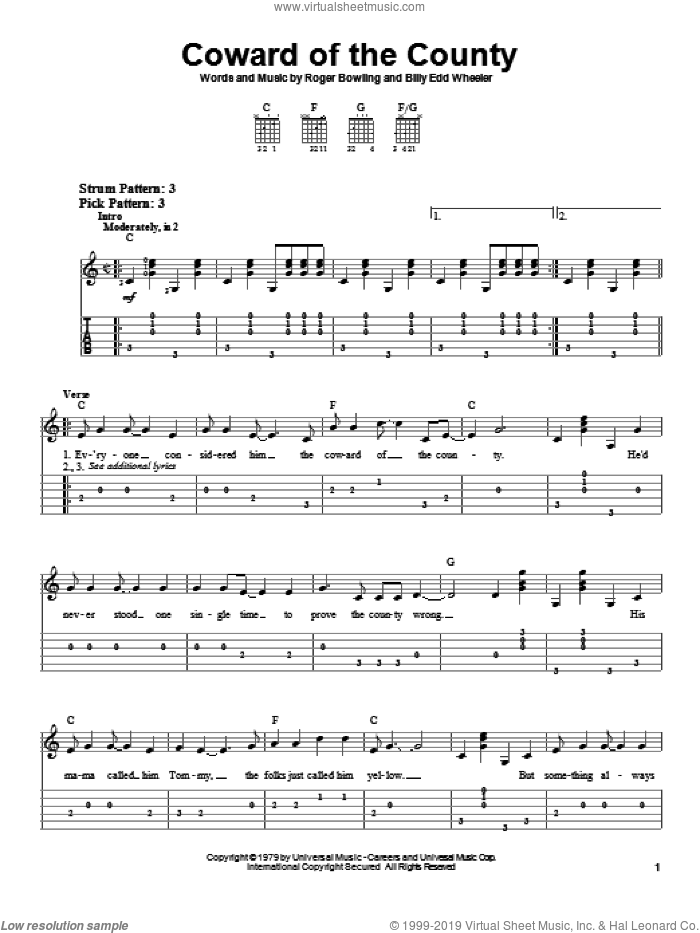 Coward Of The County sheet music for guitar solo (easy tablature) by Kenny Rogers. Score Image Preview.
