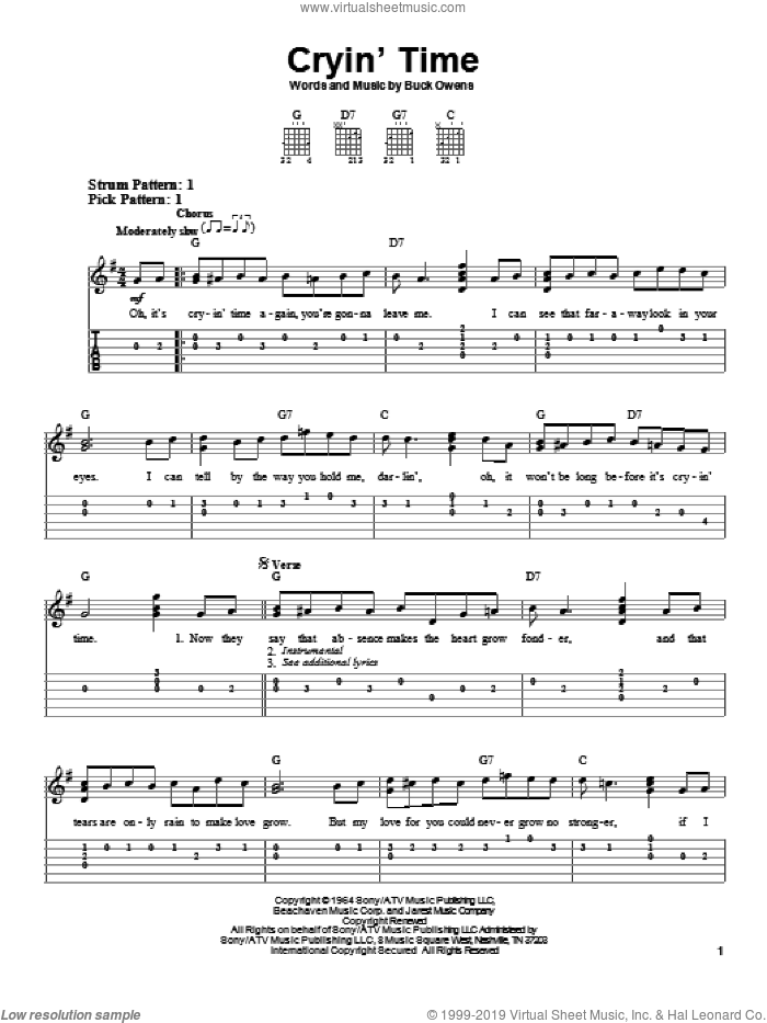 Cryin' Time sheet music for guitar solo (easy tablature) by Buck Owens, easy guitar (easy tablature)
