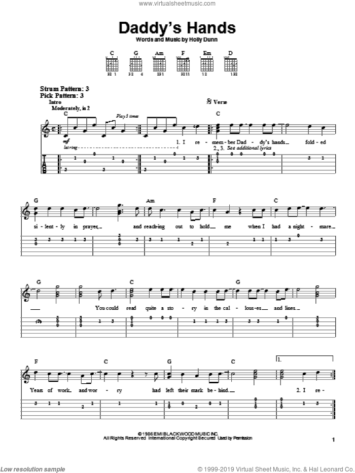 Daddy's Hands sheet music for guitar solo (easy tablature) by Holly Dunn. Score Image Preview.