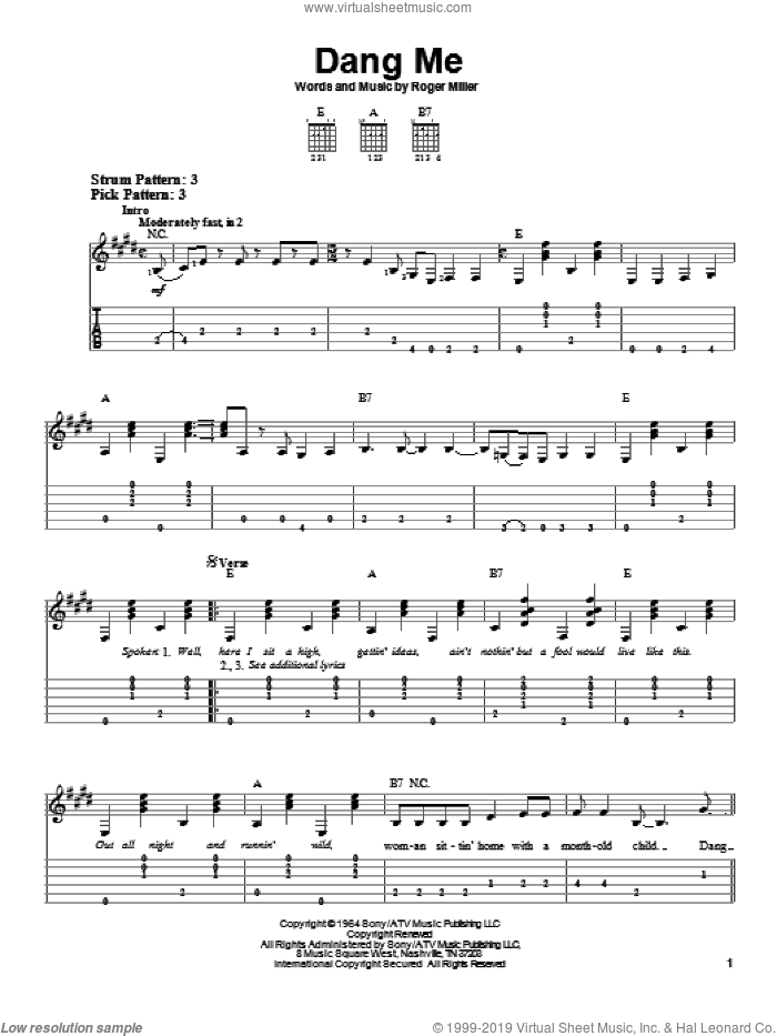 Dang Me sheet music for guitar solo (easy tablature) by Roger Miller, easy guitar (easy tablature). Score Image Preview.