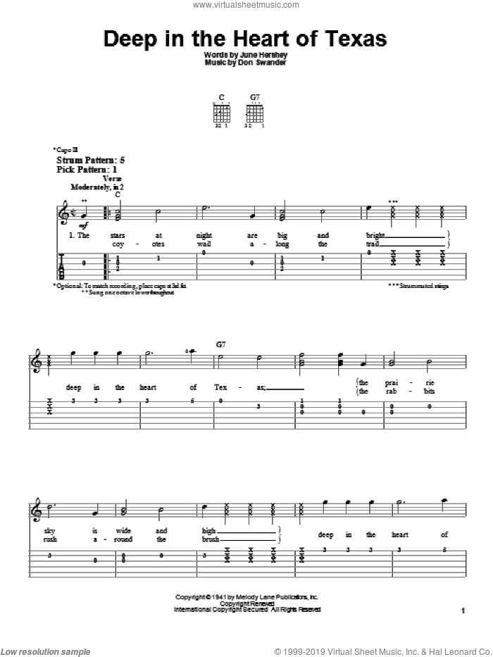 Deep In The Heart Of Texas sheet music for guitar solo (easy tablature) by Alvino Rey & His Orchestra, Don Swander and June Hershey, easy guitar (easy tablature)