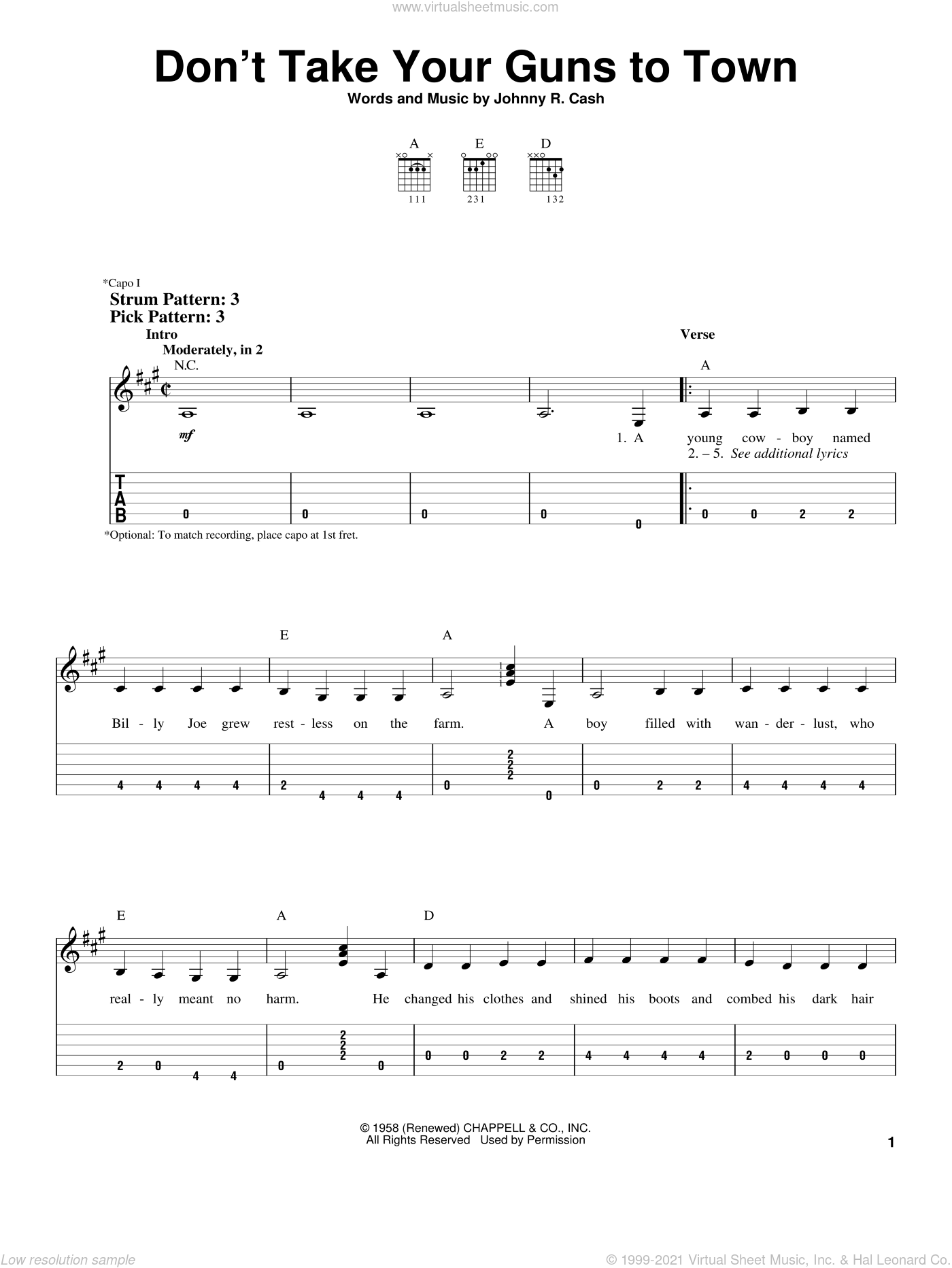 Don't Take Your Guns To Town sheet music for guitar solo (easy tablature) by Johnny Cash, easy guitar (easy tablature)