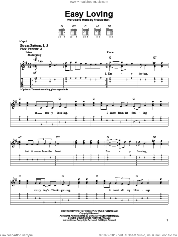 Easy Loving sheet music for guitar solo (easy tablature) by Freddie Hart. Score Image Preview.