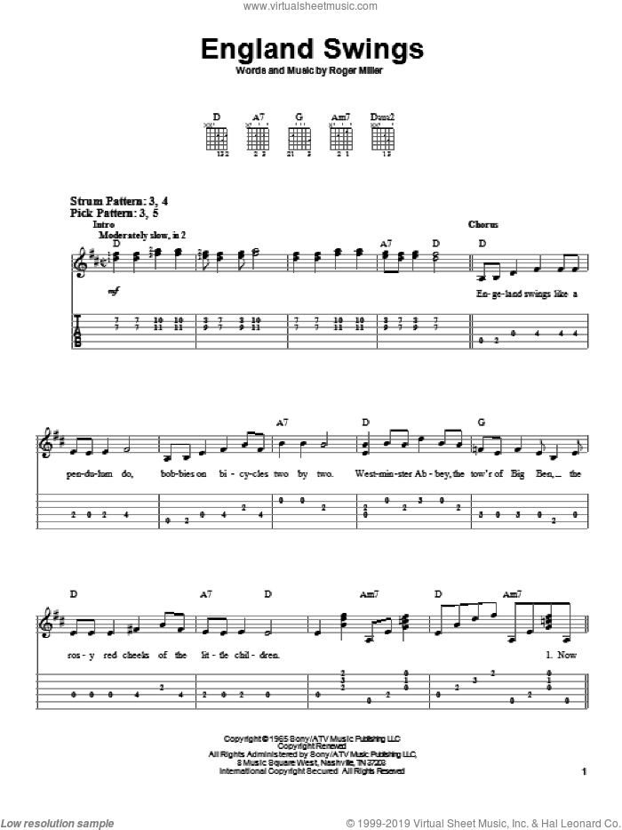 England Swings sheet music for guitar solo (easy tablature) by Roger Miller, easy guitar (easy tablature). Score Image Preview.
