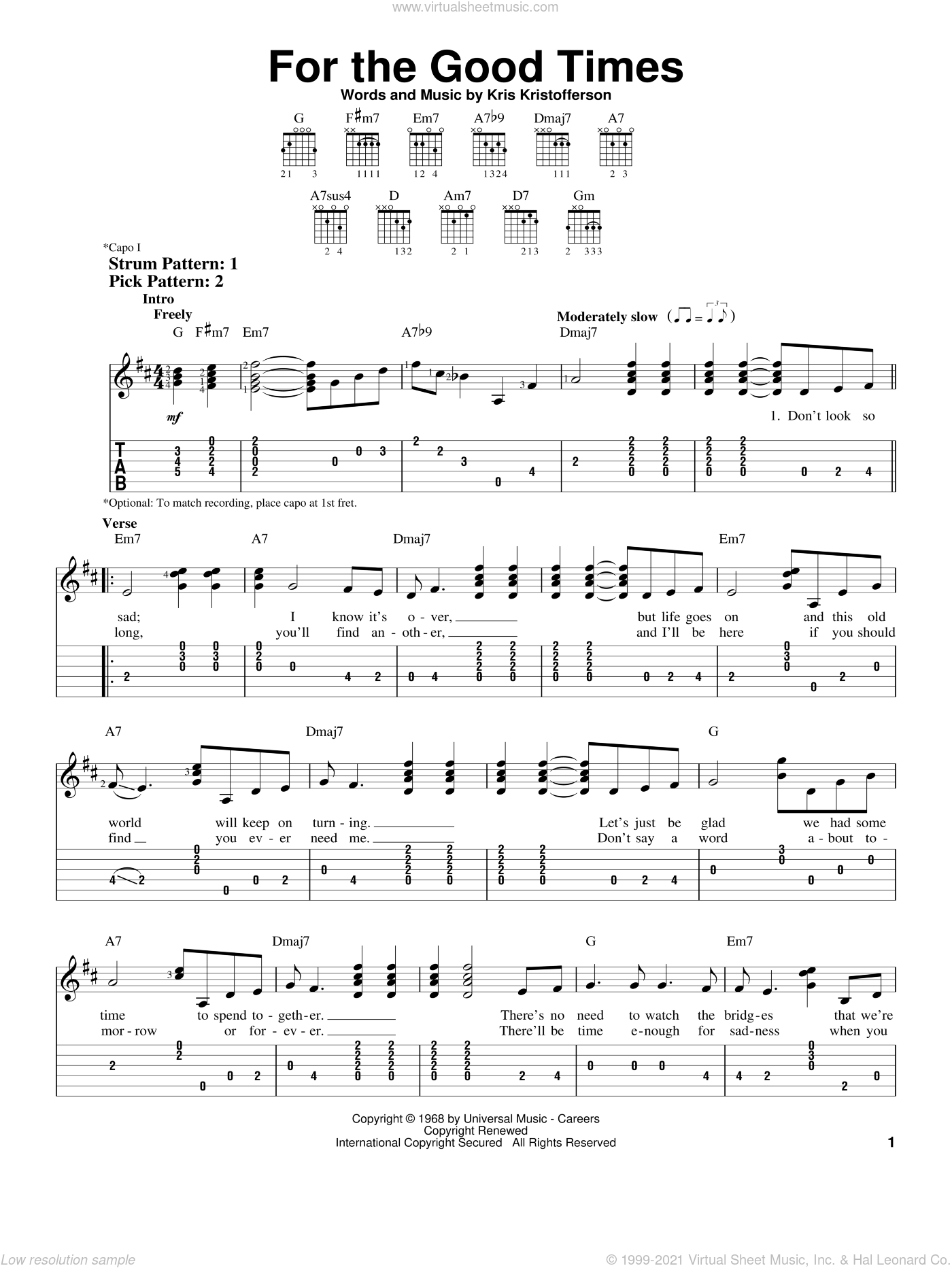 For The Good Times sheet music for guitar solo (easy tablature) by Ray Price, Elvis Presley and Kris Kristofferson. Score Image Preview.