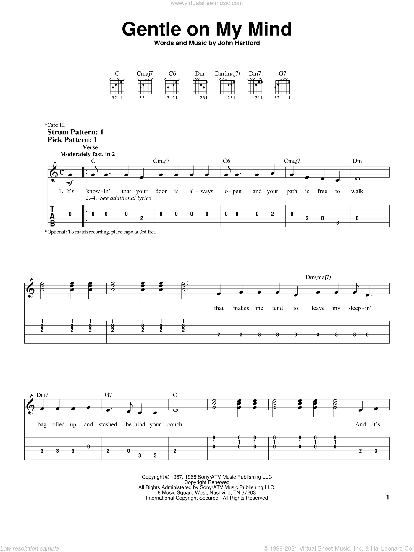 Gentle On My Mind sheet music for guitar solo (easy tablature) by Glen Campbell, Johnny Cash and John Hartford, easy guitar (easy tablature)