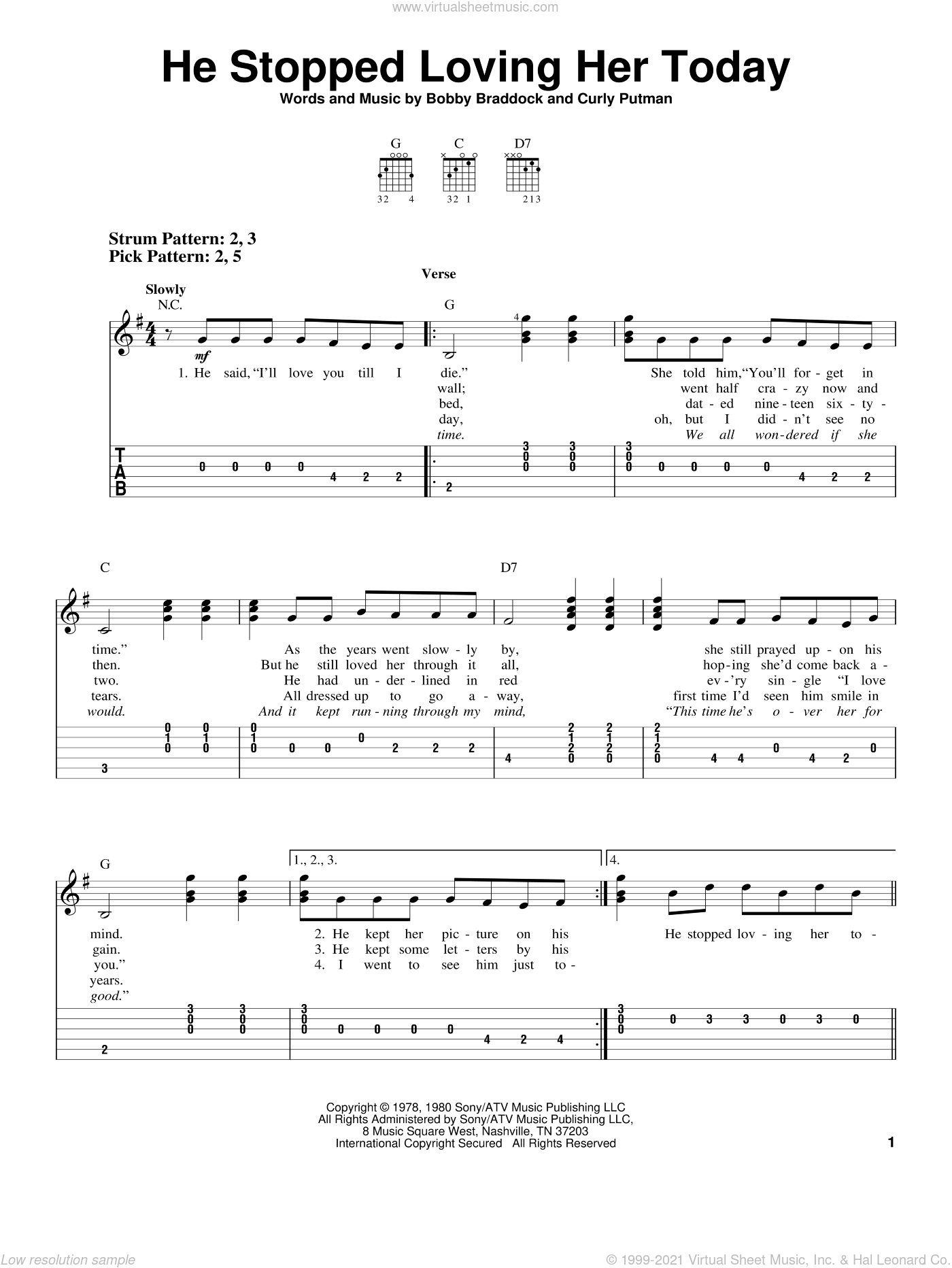 He Stopped Loving Her Today sheet music for guitar solo (easy tablature) by Curly Putman, George Jones, Johnny Cash, Johnny Paycheck and Bobby Braddock. Score Image Preview.