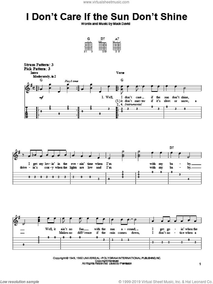 I Don't Care If The Sun Don't Shine sheet music for guitar solo (easy tablature) by Elvis Presley, Dean Martin, Patti Page and Mack David, easy guitar (easy tablature). Score Image Preview.