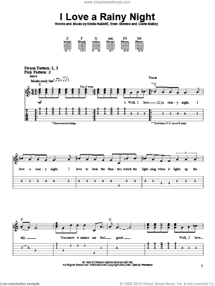 I Love A Rainy Night sheet music for guitar solo (easy tablature) by Eddie Rabbitt and David Malloy, easy guitar (easy tablature). Score Image Preview.