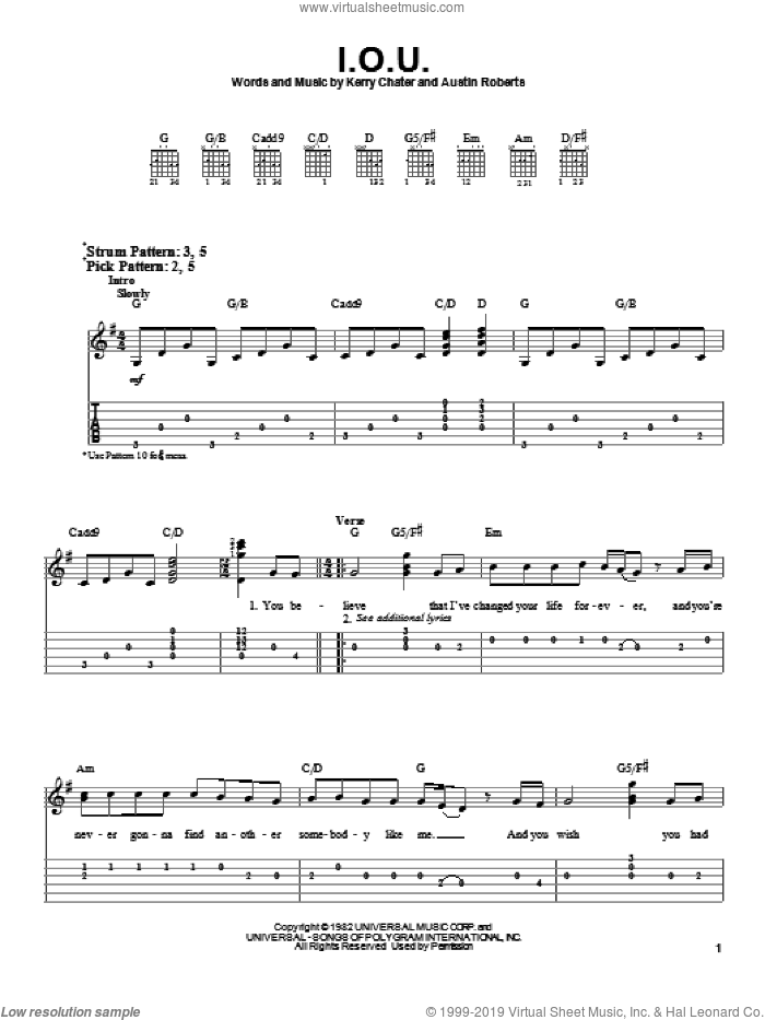 I.O.U. sheet music for guitar solo (easy tablature) by Kerry Chater and Lee Greenwood. Score Image Preview.