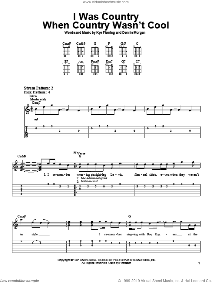 I Was Country When Country Wasn't Cool sheet music for guitar solo (easy tablature) by Barbara Mandrell, Dennis Morgan and Kye Fleming, easy guitar (easy tablature)