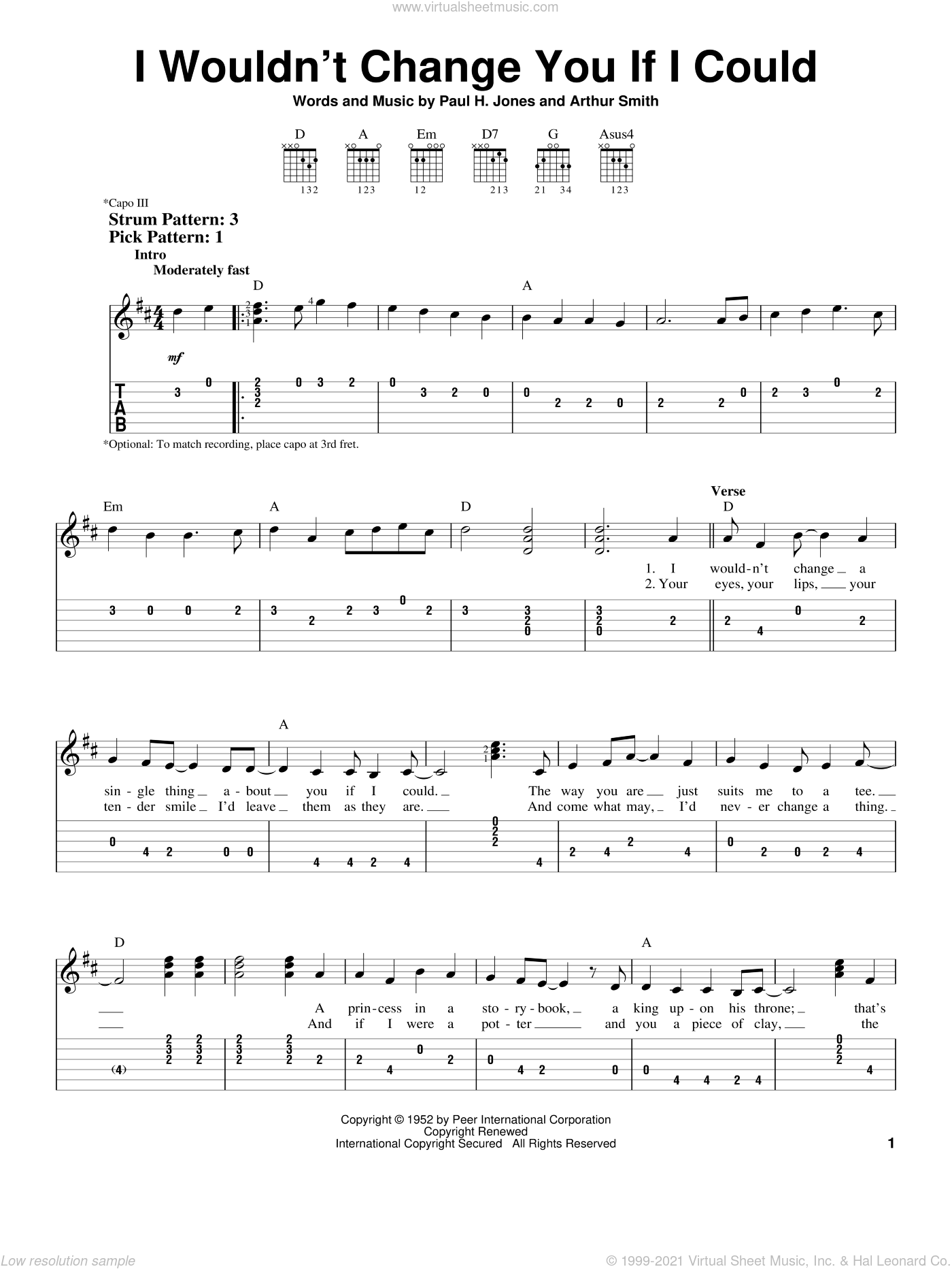 I Wouldn't Change You If I Could sheet music for guitar solo (easy tablature) by Paul H. Jones, Ricky Skaggs and Arthur Smith. Score Image Preview.