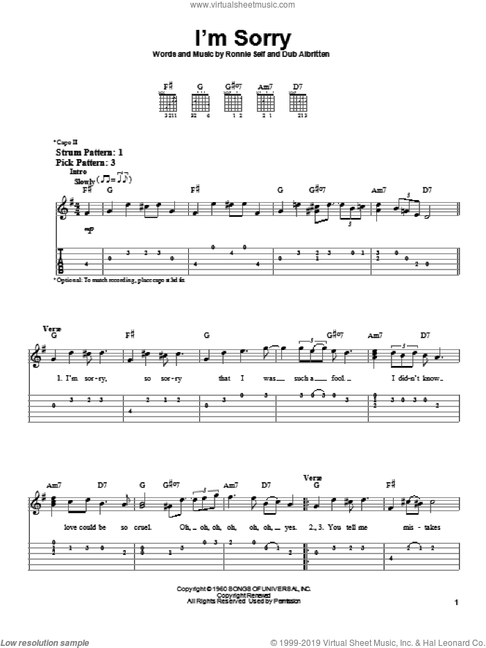 I'm Sorry sheet music for guitar solo (easy tablature) by Ronnie Self and Brenda Lee. Score Image Preview.