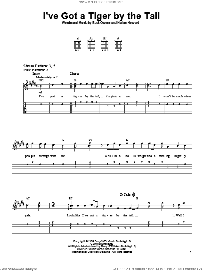 I've Got A Tiger By The Tail sheet music for guitar solo (easy tablature) by Buck Owens and Harlan Howard, easy guitar (easy tablature)